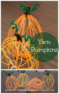 halloween activities for kids - yarn pumpkins