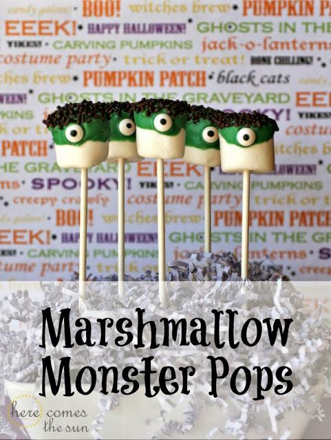halloween treats - marshmallow monster pops