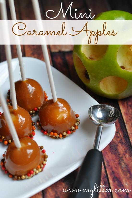 halloween treats - mini caramel apples