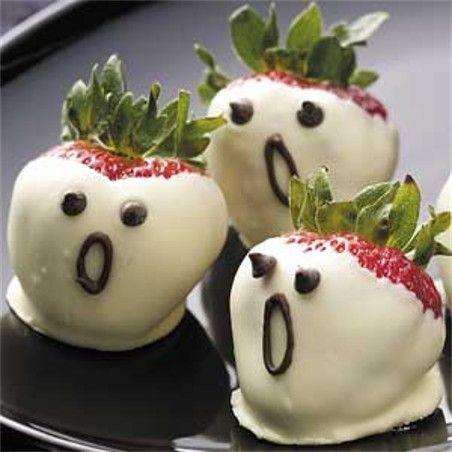 halloween treats - strawberry ghosts