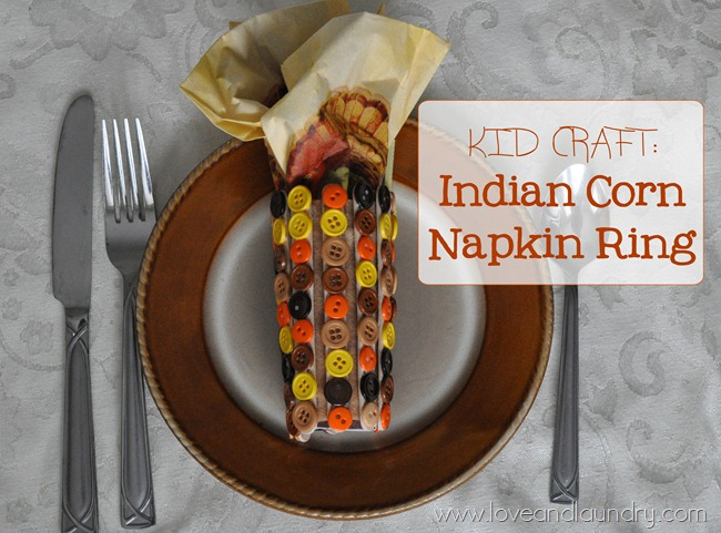 fall activities - indian corn napkin ring