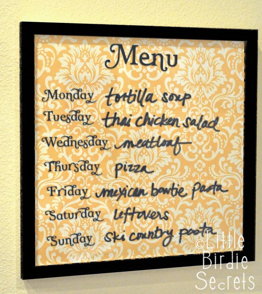 frugal christmas - menu board