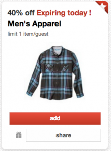 target men's apparel coupon