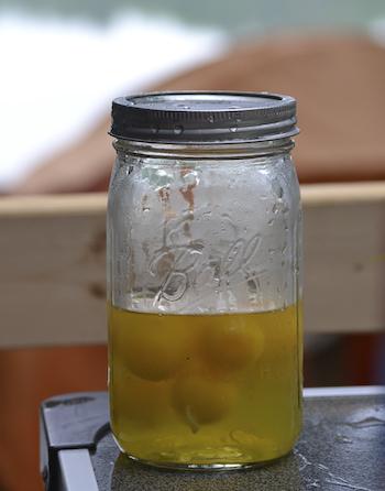 Camping - eggs in mason jar