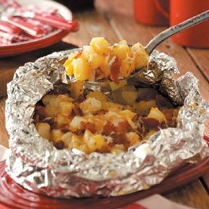 camping food - three cheese potatoes