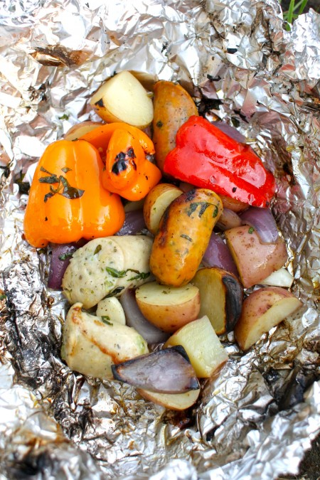 camping food - tin foil dinners