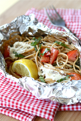 camping food - whole wheat pasta in tin foil