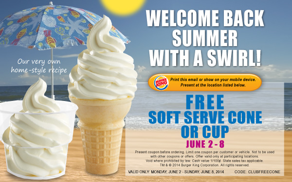 free burger king ice cream cone