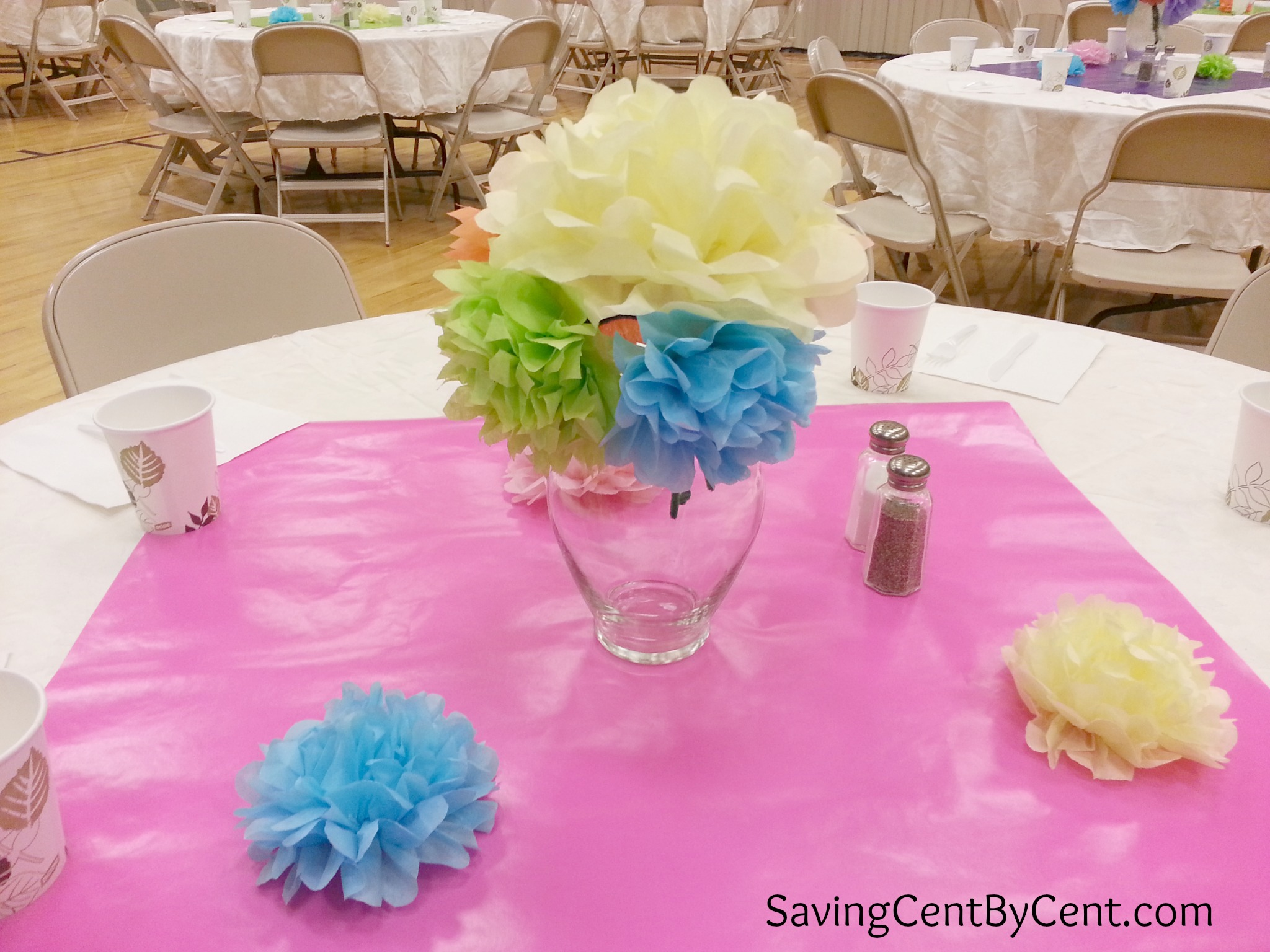How to make easy tissue paper flowers saving cent by cent relief society dinner 2 izmirmasajfo Images
