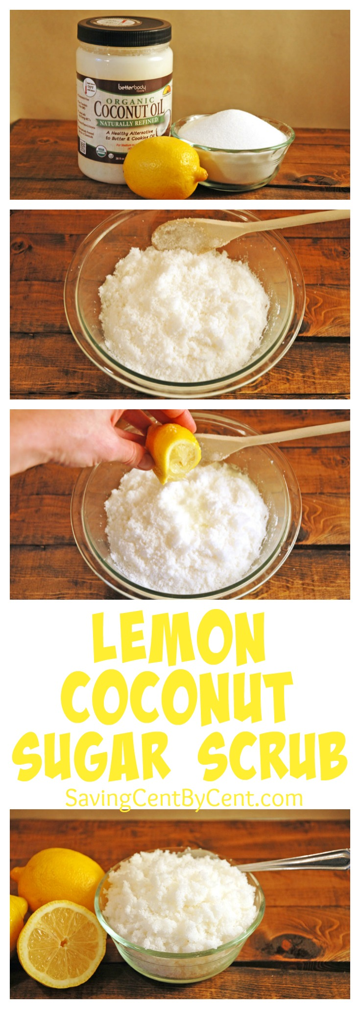 Homemade Lemon Coconut Sugar Scrub