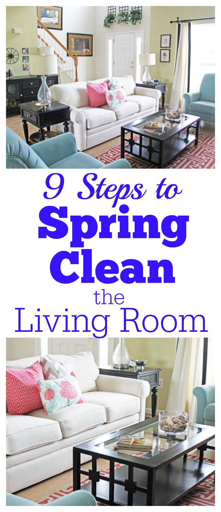 spring cleaning the living room