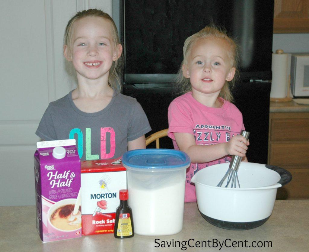 Girls Stirring Ice Cream