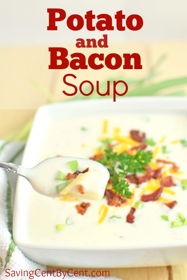 Potato and Bacon Soup with Spoon
