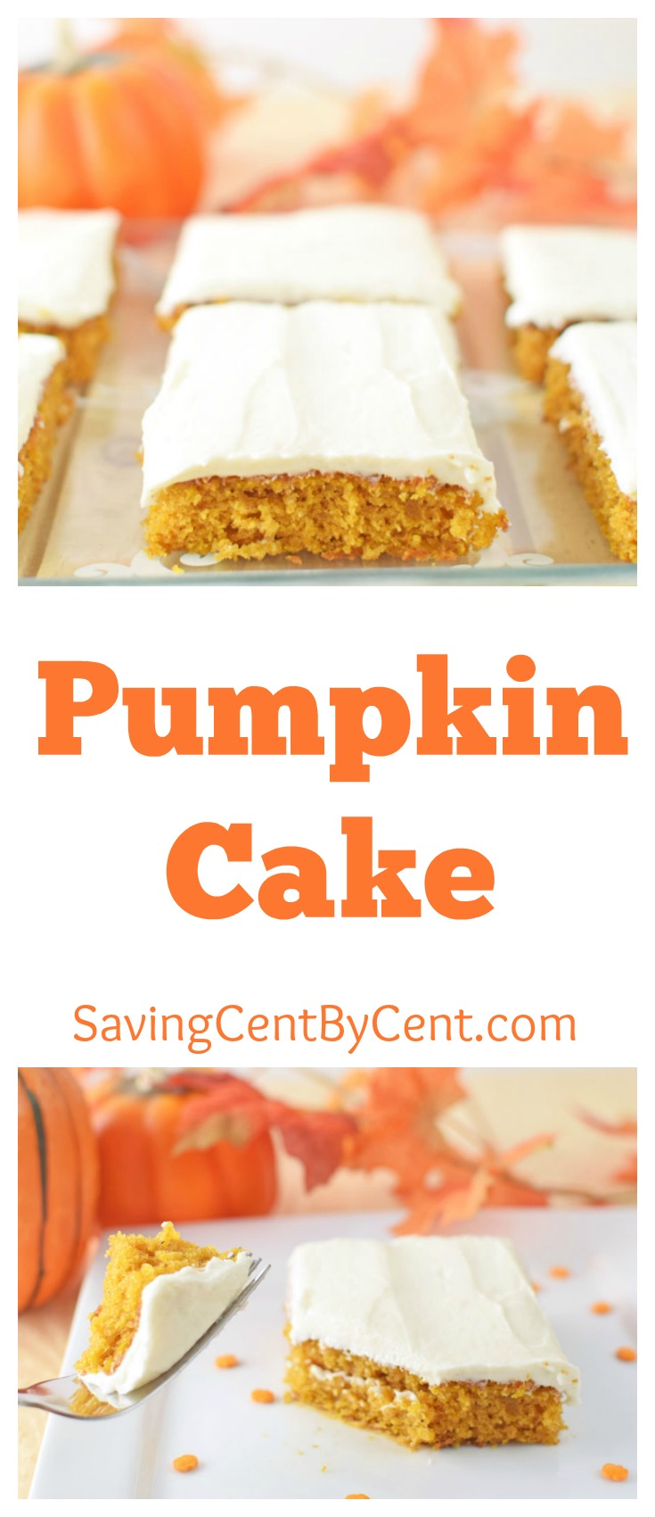 Pumpkin Cake with cream cheese frosting and butter frosting