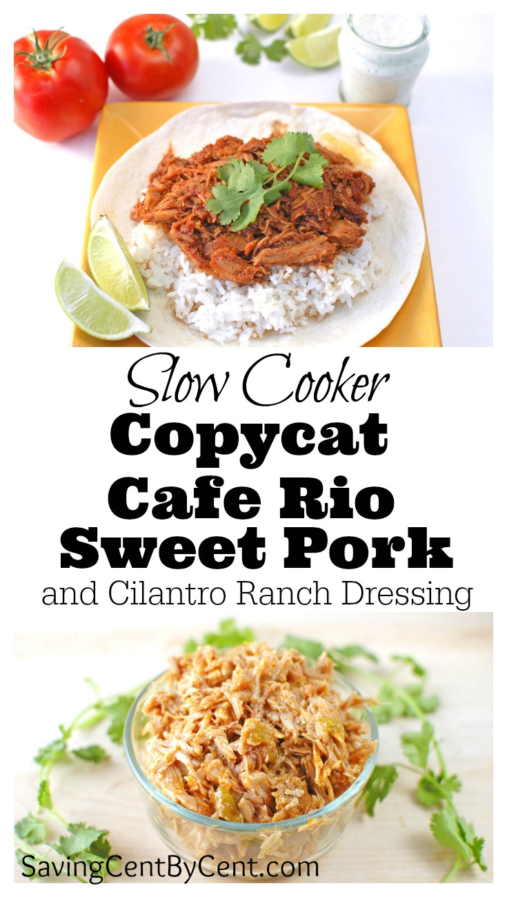 Slow Cooker Copycat Cafe Rio Sweet Pork Cilantro Ranch Dressing