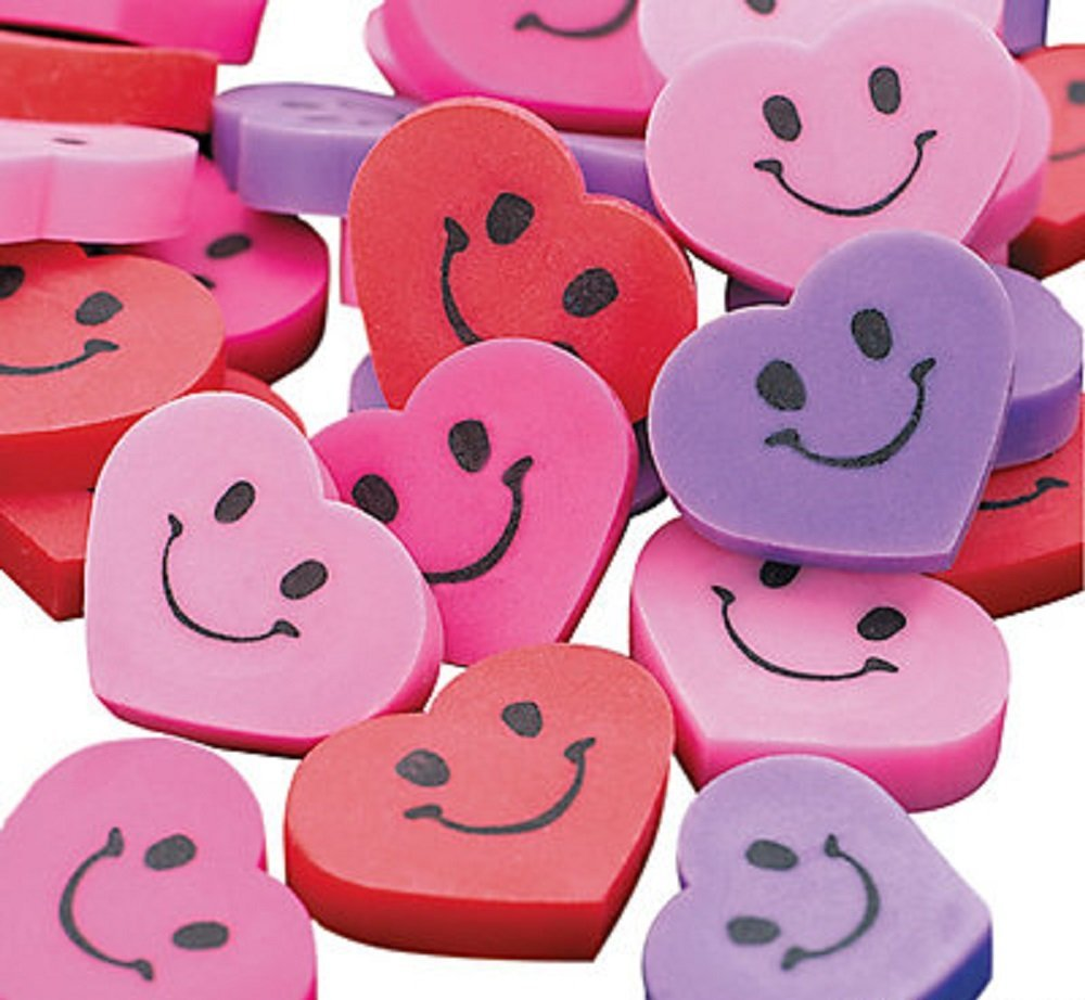 amazon - valentine's heart erasers