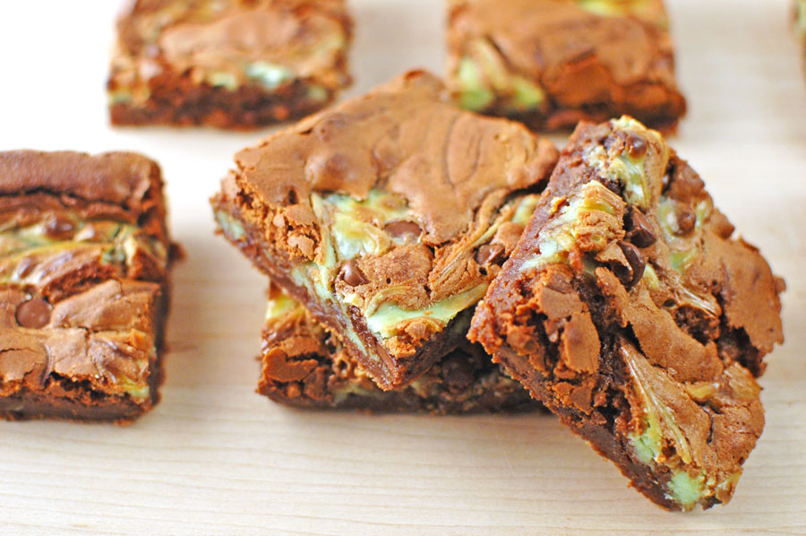 Chocolate Chip Cheesecake Brownies with green food coloring