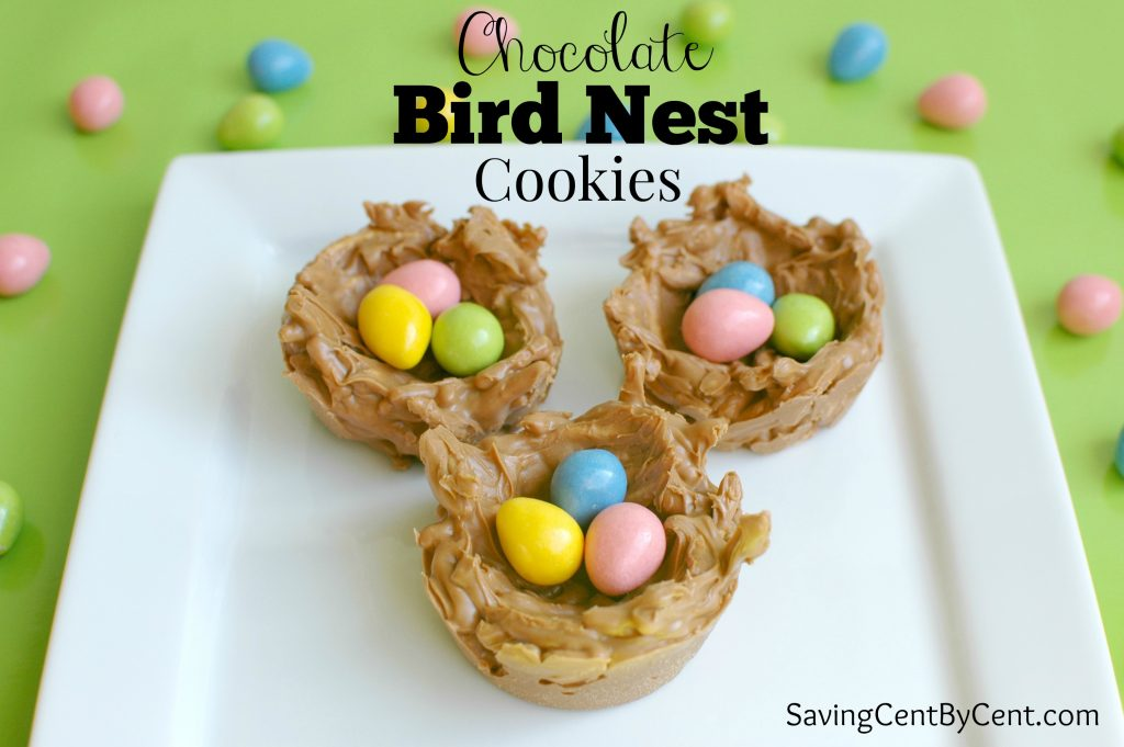 Chocolate Bird Next Cookies with candy eggs