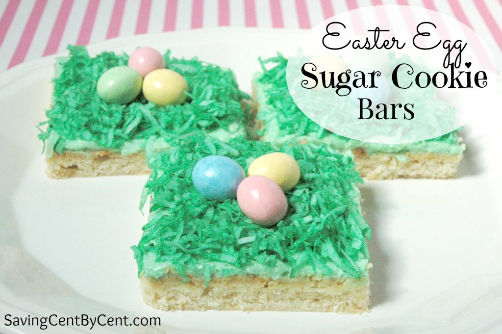 Easter Egg Sugar Cookie Bars with Green Grass and Candy Eggs on Top