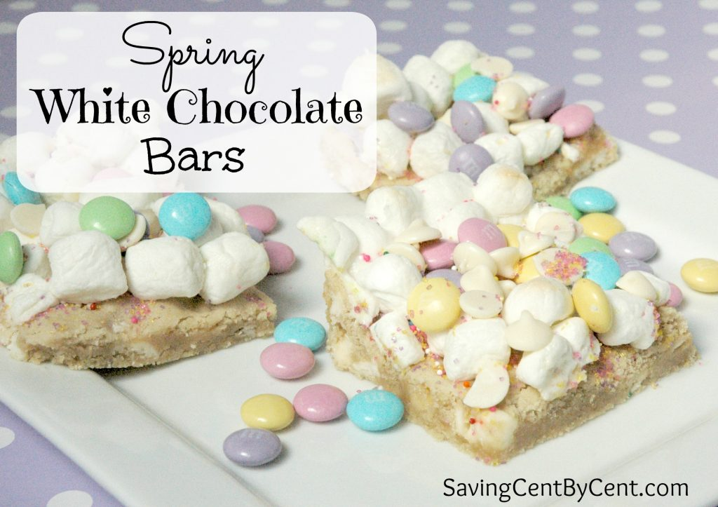 Spring White Chocolate Bars with Marshmallows and M&Ms and White Chocolate Chips