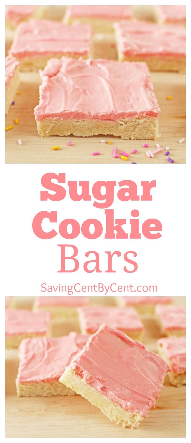 Sugar Cookie Bars on board with sprinkles