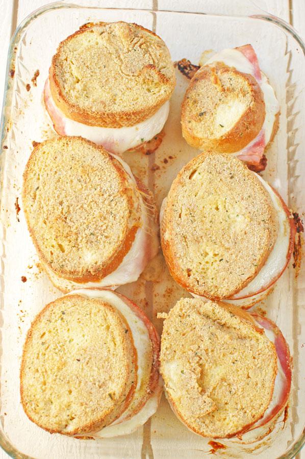 Baked Italian Sandwiches in a baking dish