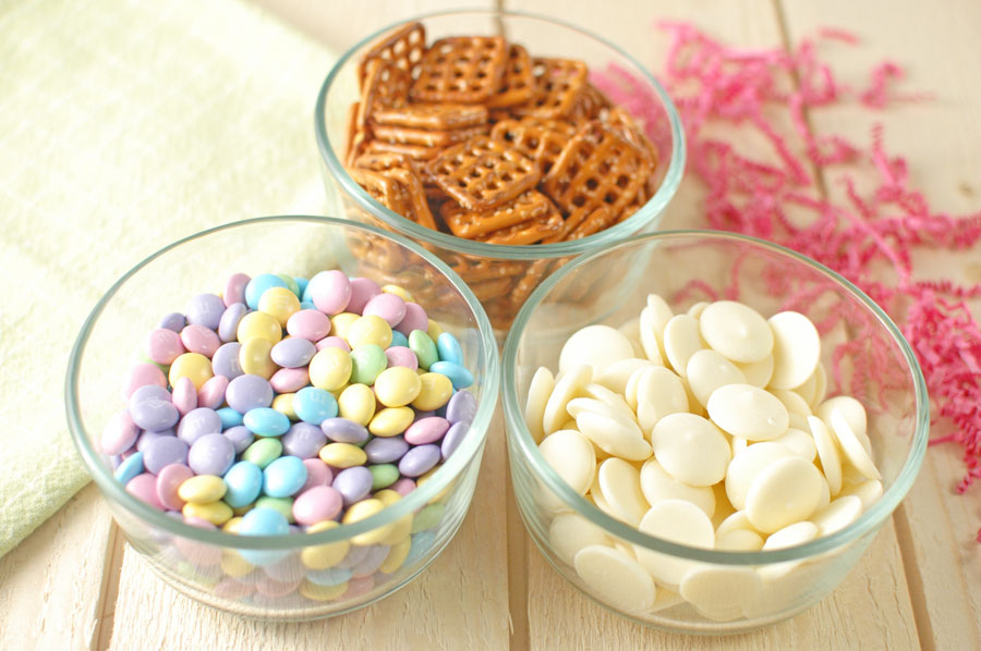 M&Ms Pretzels and Melting wafers in bowls
