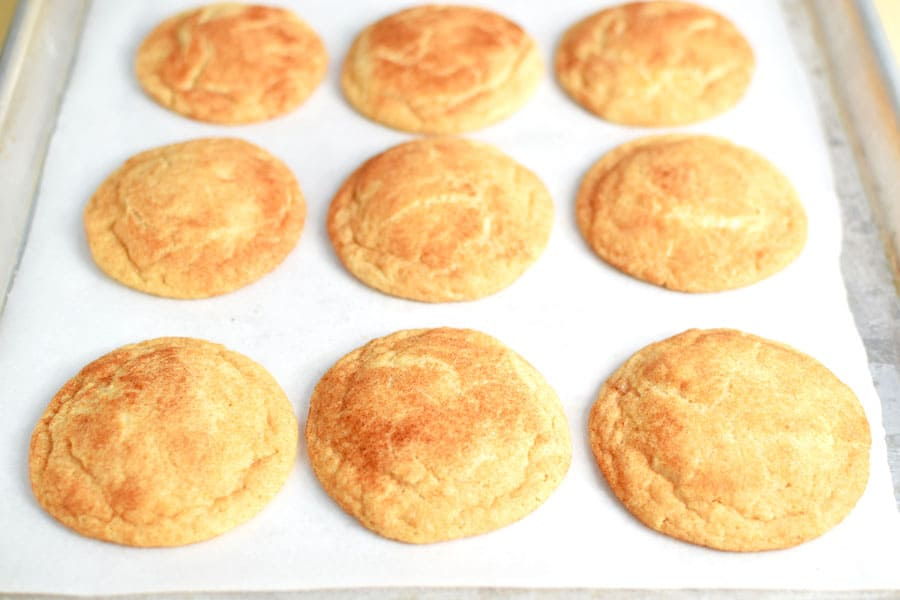 Snickerdoodle Cookies Cooked on Baking Sheet