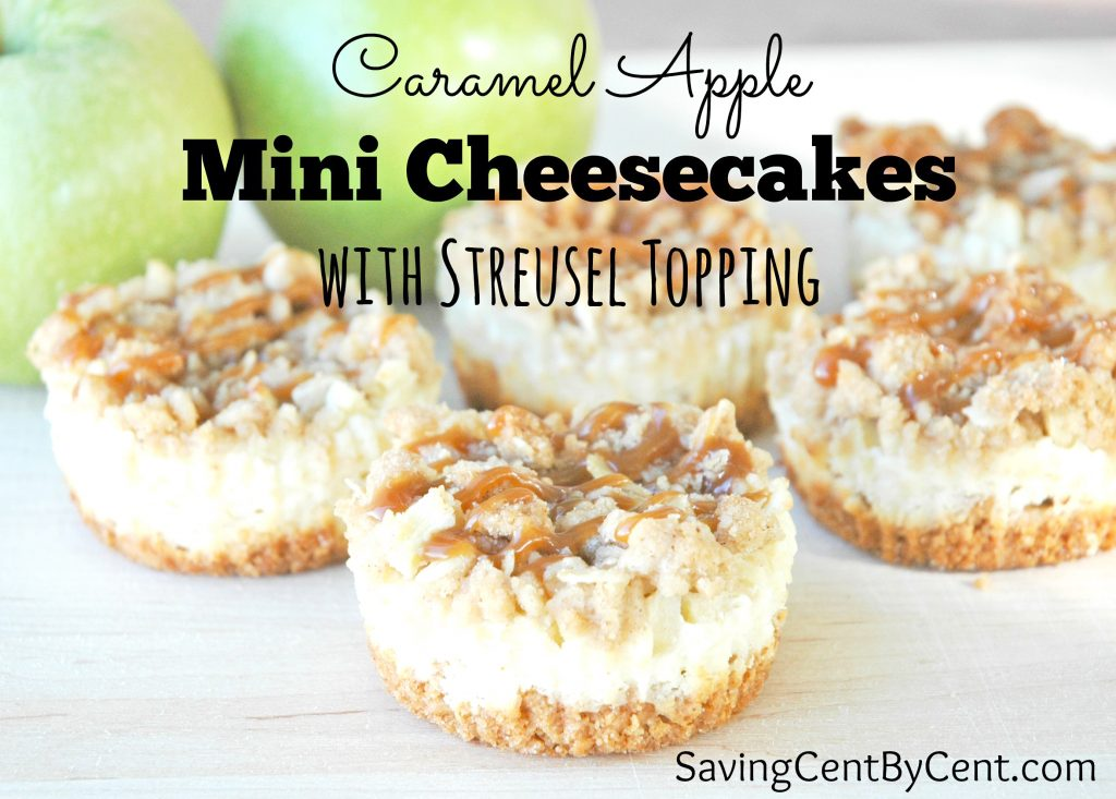 Carael Apple Mini Cheesecakes with Streusel Topping
