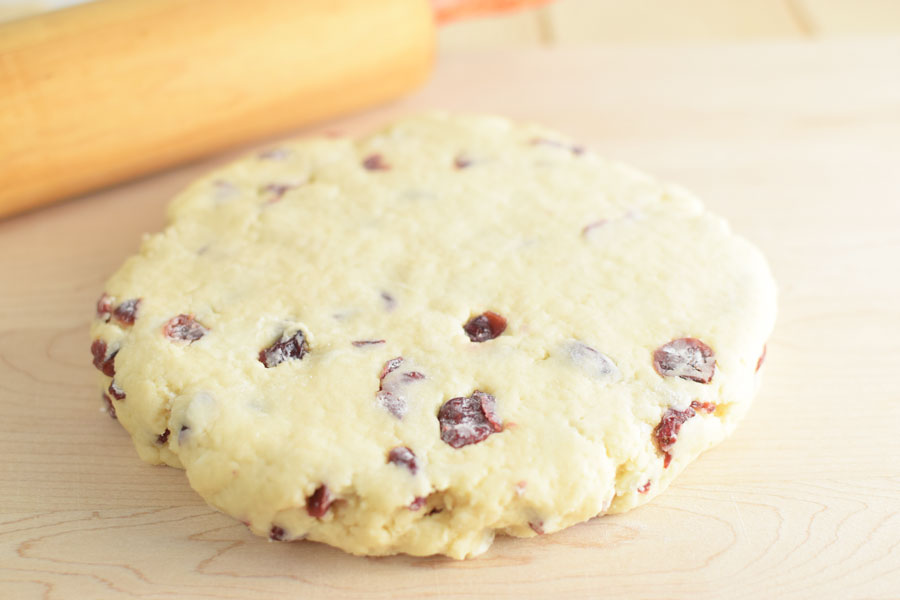 Cranberry Scones Dough Rolled Out