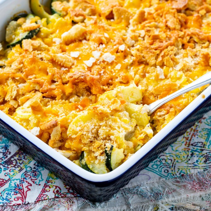 Cheesy Squash Zucchini and Corn Casserole