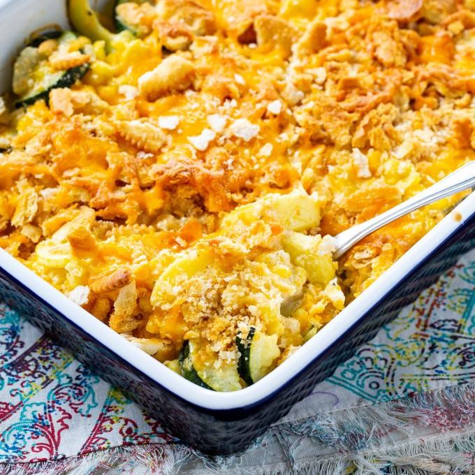 Cheesy Squash Zucchini and Corn Casserole