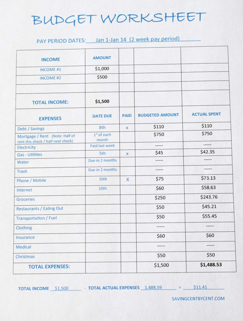 free budget worksheet template