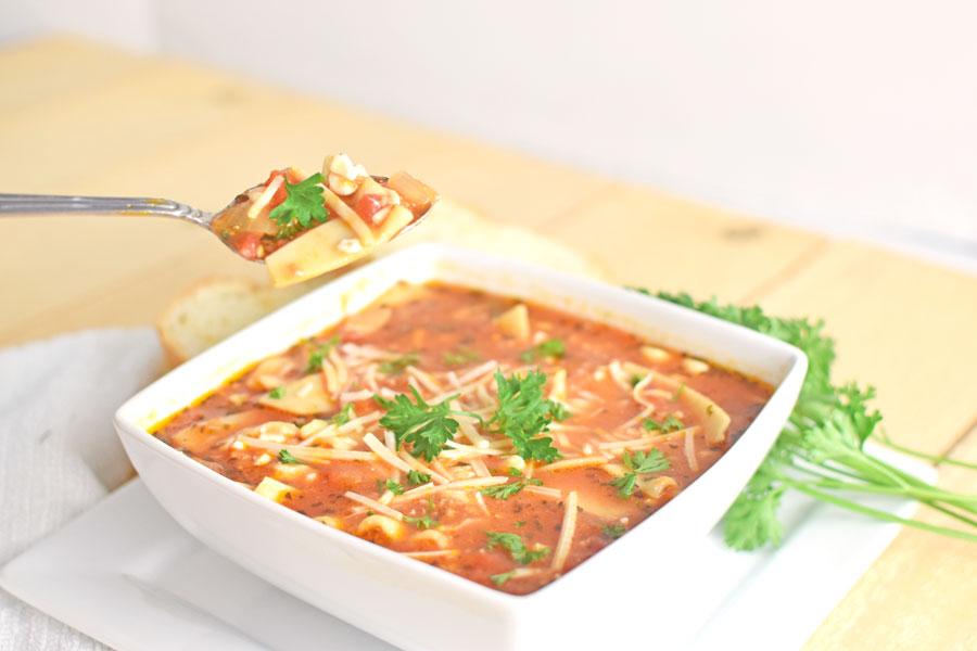Tasty lasagna soup